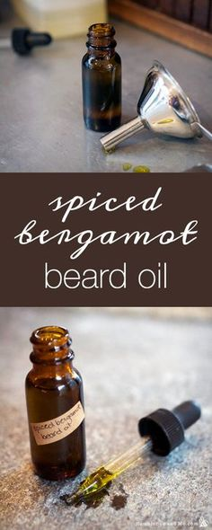 Learn how to make this DIY Spiced Bergamot Beard Oil for a  DIY Valentine's Day gift for your boyfriend, dad or significant other!