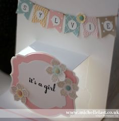 Handmade pop up baby card using stampin up banner punch by Michelle Last