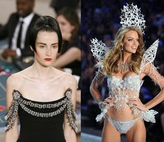 (L-R): 3D printed embellishments by Chanel at Paris Couture Week; A model at Victoria's Secret wearing 3D printed wings.