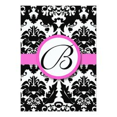 Monogram Wedding Menu Bright Pink Hearts & Swirls Damask Wedding Menu Card