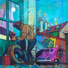 Mandigers Art Studio ---Comics Art Paintings_The Burglar_  100 x 100 cm. / Acrylics on canvas / Sold