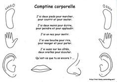 Comptine corporelle Teaching French Immersion, French Poems, Kindergarten Songs, French Teaching Resources, French Worksheets, French Kids, Core French, Kids Daycare, French Classroom