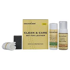 COLOURLOCK Leather Clean & Care Kit - Strong Cleaner & Leather Protector to clean & protect leather car interiors, furniture, jackets, handbags and other items against general wear and tear (Regular). For product info go to:  https://www.caraccessoriesonlinemarket.com/colourlock-leather-clean-care-kit-strong-cleaner-leather-protector-to-clean-protect-leather-car-interiors-furniture-jackets-handbags-and-other-items-against-general-wear-and-tea/