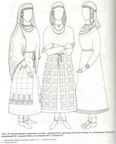 Kolchin Ch4 Table 76: Reconstruction of peasant dress, based on Vyaticheski burials, 12thC - early 13th C.