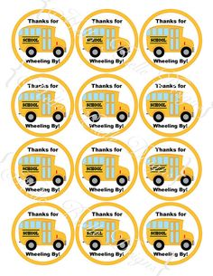 Wheels on the Bus Printable Round Favor Tags or by HelloBrielle, $5.00