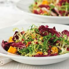 winter salad w/ roasted squash & pomegranate vinaigrette (eating well) @eatingwell - Not sure about the squash, but pomegranate vinaigrette?! count me in.