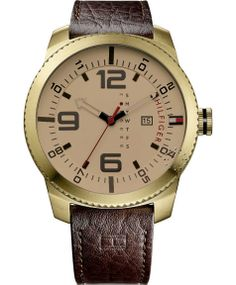 Tommy Hilfiger 1791015 Men's Gold Tone Analog Watch With Brown Dial Mens Watches Leather, Watches For Men, Men's Watches, Tommy Hilfiger Watches, Brown Leather Strap Watch, Stylish Mens Outfits, Well Dressed Men, Watch Sale, Fashion Watches