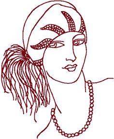 Redwork Flapper #1 Embroidery Design