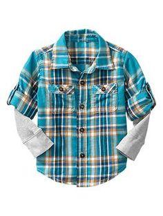 2-in-1 convertible plaid shirt | Gap