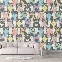 Nerdy Cat Peel and Stick Animal Wallpaper Trending White Black Sharp Shirter - Smooth Wall Decal / 1 roll: 24W x 132H