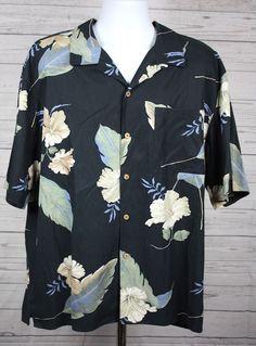 Tommy Bahama Mens Black Palm Leaves100% Silk Hawaiian Aloha Shirt Size XL #TommyBahama #Hawaiian