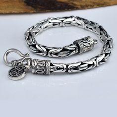 Sterling Silver Byzantine Chain Bracelet For Men