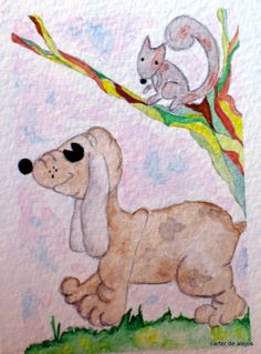 SQUIRRELY DOG original watercolor ACEO FREE SHIPPING