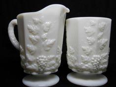 Westmoreland Milk Glass Paneled Grape Creamer & Sugar