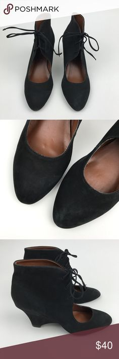 """[Jeffrey Campbell] Agusta Lace Up Wedge Heels 8.5 Black leather heels with almond toe. Lace up front. Caged heel. Slim wedge.   ▪️Heel Height: 2.75"""" ▪️Shaft Height: approximately 3.5"""" ▪️Condition: Good pre-owned condition. Has some scuffing mainly around toes and heels. Jeffrey Campbell Shoes Wedges"""