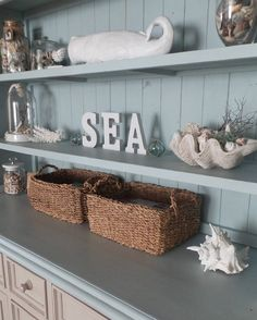 Coastal Style Open Shelving - Charming Rustic space is great for decor as simply placing some themed items, such as nautical ones, create a lovely focal point and can easily be switched out for a new seasonal look - BL