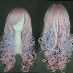 Free Shipping 70cm Long Wave Mulit Color Synthetic Beautiful Party Kawaii Cosplay Lolita Wigs US $15.99
