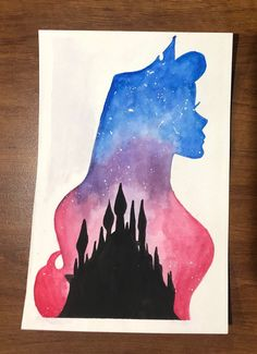 Princess watercolor silhouette--Aurora — Disney princess