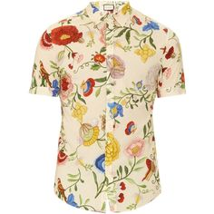 Gucci Floral-print cotton shirt ($590) ❤ liked on Polyvore featuring men's fashion, men's clothing, men's shirts, men's casual shirts, gucci, men, tops, cream multi, mens flower shirt and gucci mens shirts