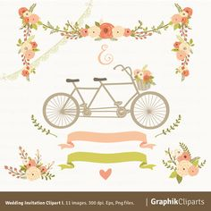 Wedding Invitation Clipart I. Floral Garland by Graphikcliparts