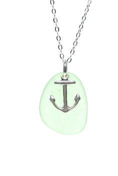 Anchor Charm Sea Glass Necklace