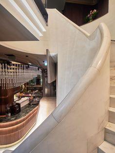 The White Marble Stairs – Marble Decoration Marble Stairs, White Stairs, Marble Wood, White Marble, Marble Case, Restaurant Interior Design, Bar Lounge, Restaurant Bar, Entrance