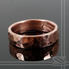 Damascus Steel And Copper Ring Wedding Band Custom Made Rings