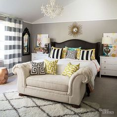 DIY master bedroom update - Give outdated furniture a fresh look with new upholstery in a stylish mixed pattern room design!