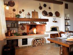 Idee per arredare la cucina in stile rustico - Cucina rustica con camino Ideas to furnish the kitchen in rustic style - Rustic kitchen with fireplace