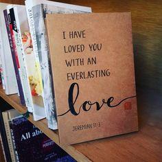 영원한 사랑💖💕 #캘리그라피 #다용도 #크라프트 #무선 #노트 #커버 #디자인 #핸드메이드 #영문 #성경구절 #예레미야 #동편마을 #카페다옴 #jeremiah #everlasting #love #2eehyo #bibleverse #Calligraphy #calli #item #handwriting #handmade #italic #craft #notebook #cover #design #cafe #daom
