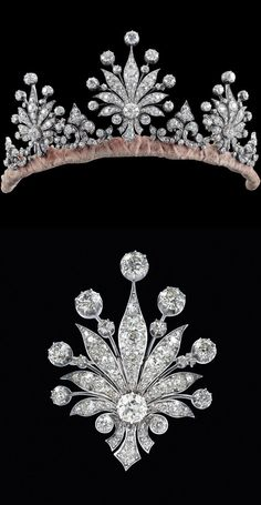 A diamond tiara, circa 1900, featuring three radial motifs, with additional circular diamonds, and smaller spacers; each of which can detach and be used as brooches.