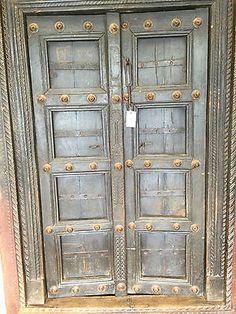 Antique Indian Doors by indiatrendzs Vintage Doors, Antique Doors, Old Doors, Front Doors, Door Furniture, Rustic Furniture, Indian Furniture, Furniture Storage, Spanish Style Interiors