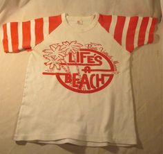 Vintage Life's A Beach Apple Red and White T Shirt Puerto Vallarta Mexico 40 SM | eBay