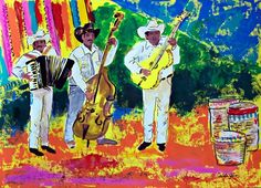 """Original painting of Mexican musicians at Mexican market street, acrylic on paper  19.5""""x 27.5"""""""