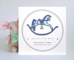 New Baby Boy Card - Personalised, Rocking Horse Design £4.15