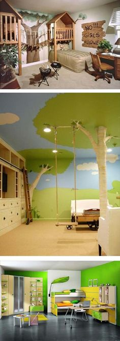 I love the rope bridge on the top picture>>Kids Bedroom Ideas Brought To Life | Rotten Panda