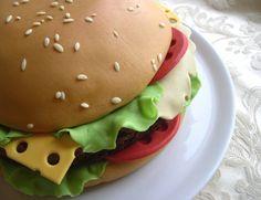 photo tutorial for a hamburger cake