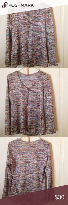 Multicolor Sweater Really pretty one button sweater. Nice open look. Lightweight. Would love to bundle with matching top. So many colors! Pair with basic bottoms. No size inside. I'd estimate it to be a medium. Sweaters Cardigans