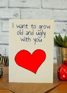 Funny anniversary card, funny valentine card, card for him, card for her, … – Wanderlust Funny Valentine, Husband Valentine, Bear Valentines, Valentine Day Cards, Valentine Gifts, Homemade Valentines, Bday Gifts For Him, Surprise Gifts For Him, Birthday Gifts