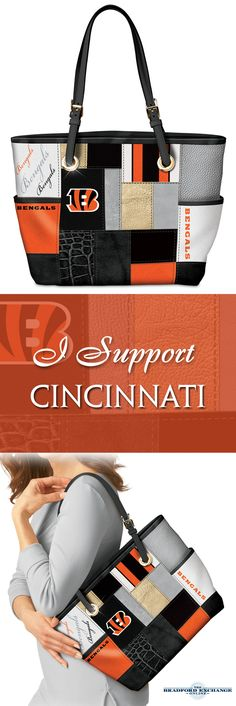 Carry Bengals pride everywhere with this chic tote bag! Custom-designed with team colors and logos, this is a must-have fashion accessory for Cincinnati Bengals fans.
