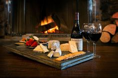 Fireside apres ski wine and cheese