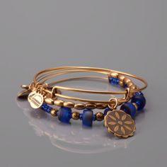ALEX AND ANI Blue Flower Bangle Set $54.99
