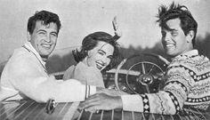 Rock Hudson, Barbara Rush & Jeffrey Hunter on a boat at Lake Arrowhead.