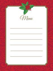 Christmas Holly Paper Menu Cards