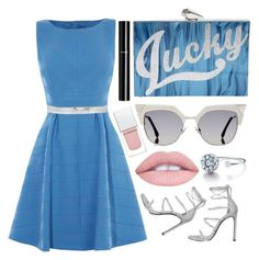 """""""Beautiful blue..."""" by sanela-enter ❤ liked on Polyvore featuring KOTUR, Stuart Weitzman, Fendi, Mauro Grifoni, Givenchy and Chanel"""