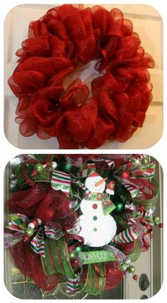 How to make mesh wreath - and other wreaths from tipjunkie-- Christmas break craft! Noel Christmas, All Things Christmas, Winter Christmas, Christmas Wreaths, Christmas Decorations, Xmas, Winter Wreaths, Spring Wreaths, Crochet Christmas