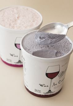 WHAT?! Wine ice cream. 5% alcohol. This will revolutionize break-ups and girls' nights.