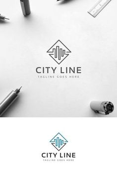 City Line Logo: multifunctional logo that can be used in technological companies, in companies and applications for software development, construction design City Line Logo Template Bauunternehmen Logo, Logo Branding, Branding Design, Logo Line, Corporate Branding, Logo Design Company, It Company Logo, Brand Logo Design, Branding Ideas