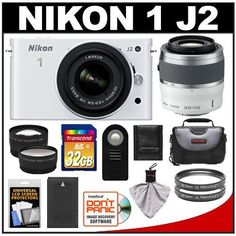 Nikon 1 J2 Digital Camera Body with 10-30mm & 30-110mm VR Lens (White) with 32GB Card + Case + Battery + Filters + Wide-Angle & Telephoto Lenses + Accessory Kit by Nikon. $719.95. Kit includes:♦ 1) Nikon 1 J2 Digital Camera Body with 10-30mm VR Lens (White)♦ 2) Nikon 1 30-110mm f/3.8-5.6 VR Nikkor Lens (White)♦ 3) Transcend 32GB SecureDigital Class 10 (SDHC) Card♦ 4) Spare EN-EL20 Battery for Nikon♦ 5) Sunpak 40.5mm UV Glass Filter♦ 6) Additional Sunpak...