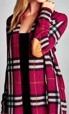 Brittany Plaid Cardigan with Elbow Patch Detail